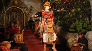 BALI, INDONESIA - MAY 12, 2016: Traditional Balinese Performance - Dancer and Musicians on Stage
