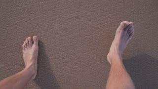 Barefoot Couple Feet Walking on Beach in Sea Foam
