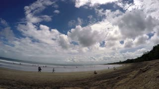 Beach, Ocean and Blue Sky on Bali Island. Timelapse