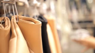 Beautiful Girl Shopping in Clothing Store Choosing Bag