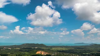 Beautiful Landscape with Island and Blue Sky with Clouds. Time Lapse.