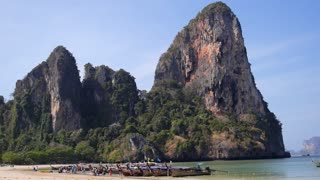 Beautiful Nature of Exotic Tropical Beach with Cliff and Boats