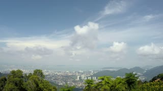 Birds-Eye View of Georgetown, Capital of Penang Island, Malaysia. Time Lapse.