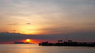 Boat Pier at Sunset. Beautiful Landscape or Seascape. Time Lapse.