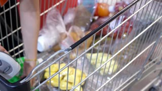 Cashier at Cash Desk with Trolley in Supermarket