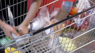 Checkout Shopping Cart with Products in Supermarket
