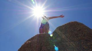 Cheering Sport Woman Enjoy Sun at Mountain Peak