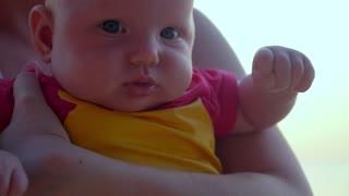 Closeup Portrait of Adorable Baby. Slow Motion.