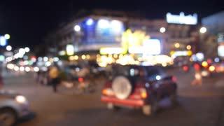 Evening Traffic in Night City. Unfocused.