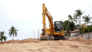 Excavator Loader Machine during Earthmoving Works Outdoors. Speed up.
