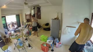 Family Cleaning Their House After Moving. Timelapse.