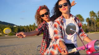 Fashion Lifestyle Summer Girls on Retro Scooter