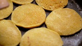 Flapjacks on the Frying Pan for Tasty Breakfast.
