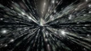 Fly through Stars in space. Infinity stars way of space-time. Velocity of light and Particles Background
