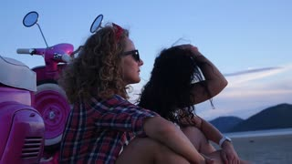 Funky Young Girls Having Fun on the Beach