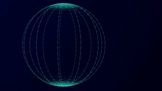 Futuristic network communication technology background. Blue sphere with glowing points, lines and polygons. 4k abstract computer generated seamless LOOP
