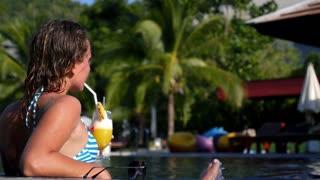 Girl Enjoying Summer in Luxury Resort Pool with Vacation Mood