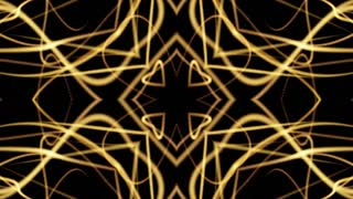 Golden Pattern Background. Strings Tracery Art Animation. 4K Abstract Kaleida Texture. LOOP