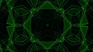 Green Technology Pattern Background. Hi-tech Lines and Polygons Art Animation. 4K Abstract Kaleida Texture. LOOP