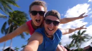 Happy Couple on Beach on Summer Holidays Vacation