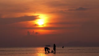 Happy Family on Beach at Sunset on Vacation