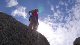 Happy Girl on Peak of Mountain - Success, Winner, Happiness