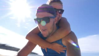 Happy Healthy Lifestyle Couple in Love on Beach