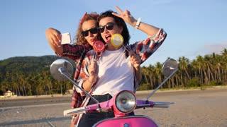 Happy Lifestyle of Summer Girls Taking Selfie on Beach