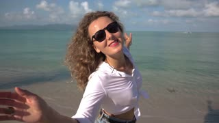 Happy Woman with Beautiful Hair at Beach. Slow Motion.