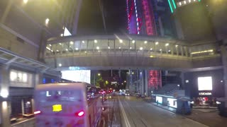 HONG KONG - SEPT 23, 2016: Hyperlapse of Night City Road Traffic in Downtown of Hong Kong