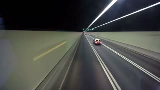 Hyperlapse of Highway Road Tunnel with Cars