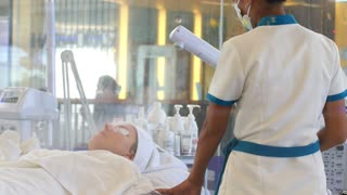 Koh Samui, Thailand, January - Spa, Resort, Beauty and Health Concept - Woman in Spa Salon
