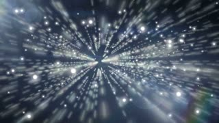 light and Particles Background. Infinity space animation