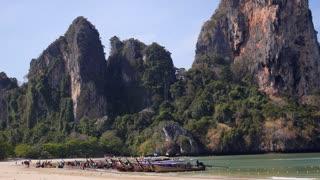 Longtail Boats on Railey Beach, Krabi, Thailand - Tropical Scenery