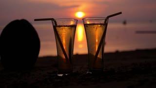 Love Honeymoon Couple Celebrating on Sunset Beach