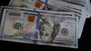 Male Hands Holding Money - Dollar Bills Closeup
