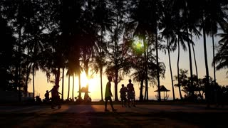Men Silhouettes Playing Beach Football against Forest and Sunset.