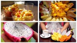 Montage Fresh Ftuits for Breakfast. Healthy Food Concept
