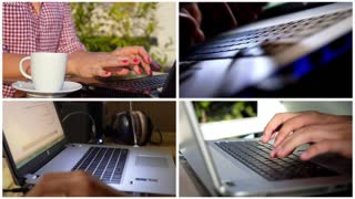 Montage Hands Typing on Laptop Keyboard