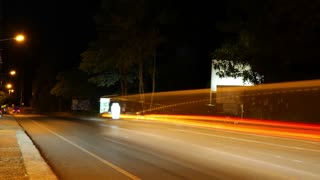 Night Road Traffic. Time Lapse.