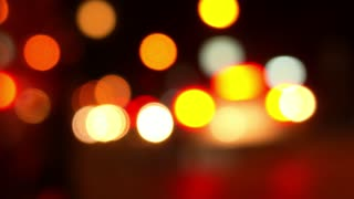 Night Road with Colorful Unfocused Lights.
