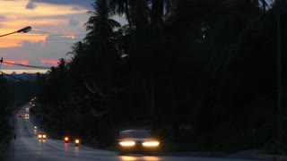 Night Traffic Road at Sunset with Palm Tree Silhouettes. Time Lapse.