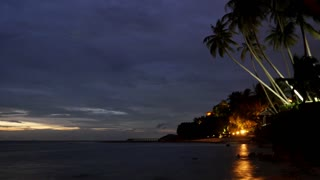 Night Tropical Beach after Sunset. Time Lapse.