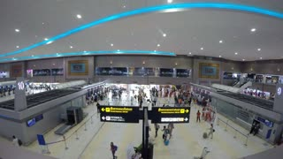 Passengers Check In at Departure Hall in Airport. Timelapse