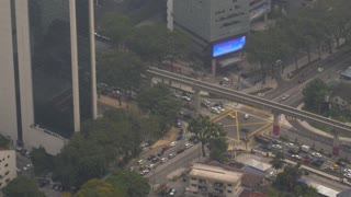 Polluted Metropolis City with Crossroads, Roads, Cars, Buildings