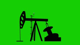 Pump Jack Oil Crane on Green Background. Animation.