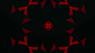 Red Technology Pattern Background. Hi-tech Lines and Polygons Art Animation. 4K Abstract Kaleida Texture. LOOP
