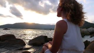 Romantic Woman Enjoying Sunset at Beach