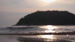 Sea Coast with Foam Waves at Sunset on Paradise Island