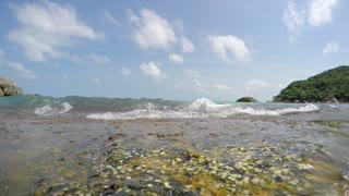 Sea Waves Hitting the Shore. Slow Motion.